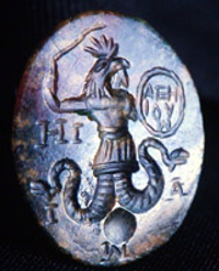 "A Gnostic ""Abraxas"" gem, dating from the 3rd century."