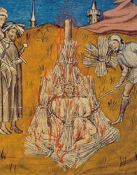 The Burning the Cathar Heretics (Medieval manuscript)