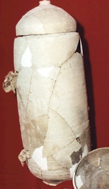 Reconstructed ceramic vessel of the type found in the caves, thought to have once contained scrolls.  None of the scrolls were found in intact containers.